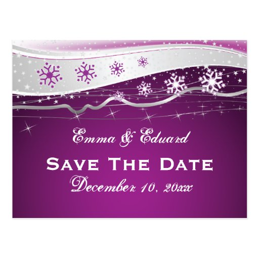 Purple silver grey snowflake wedding Save the Date Postcard