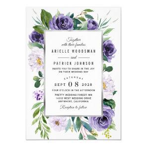 Purple Silver Grey Watercolor Floral Wedding Invitation