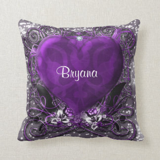 Purple & Silver Heart Sparkle Glamour Bling Throw Pillow