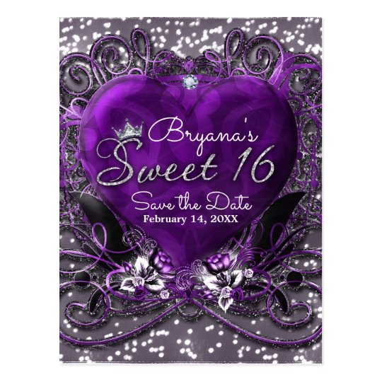 Purple & Silver Heart Sweet 16 Save the Date Party Postcard