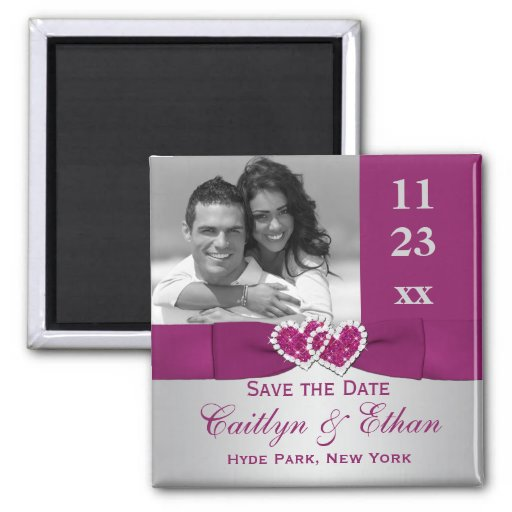 Purple, Silver Joined Hearts Save the Date Magnet