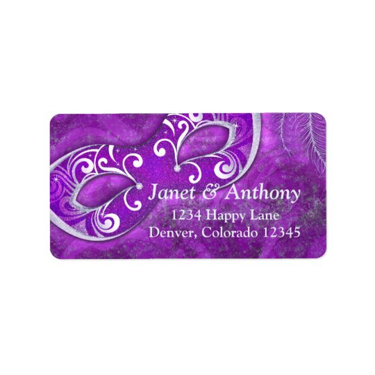 Purple Silver Masquerade Wedding Address Label