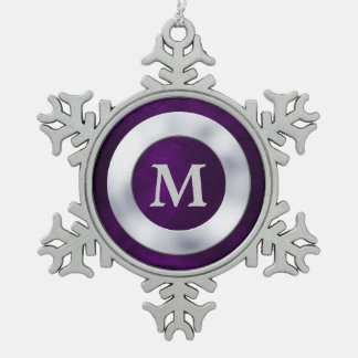 Purple Silver Monogram Christmas Pewter Snowflake Decoration
