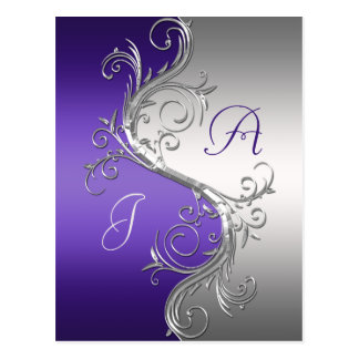 Purple Silver Ornate Swirls Save The Date Postcard