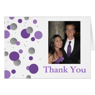Purple Silver Polka Dot Wedding Thank You Card