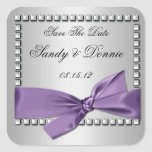 Purple Silver Ribbon Diamonds Save The Date Sticke