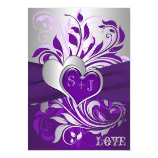 Purple Silver Scrolls, Hearts Wedding Invitation