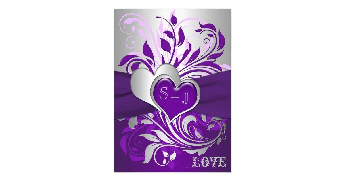 Purple Hearts Wedding Purple Silver Scrolls,...