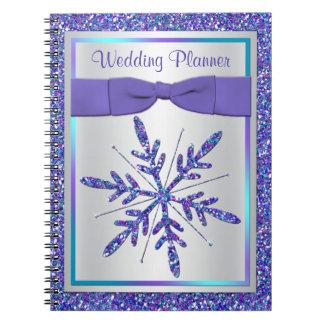 Purple Silver Snowflake Wedding Planner Notebook