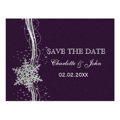 purple Silver Snowflakes Winter save the Date Postcard