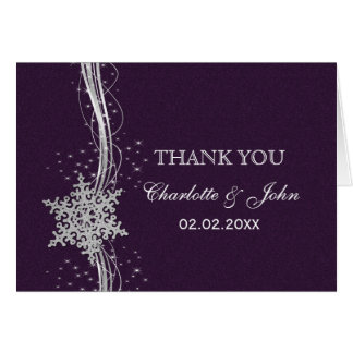 purple Silver Snowflakes Winter wedding Thank You Greeting Cards