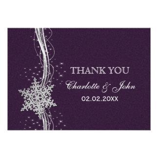 purple Silver Snowflakes Winter wedding Thank You Custom Invitation