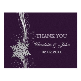purple Silver Snowflakes Winter wedding Thank You Postcards