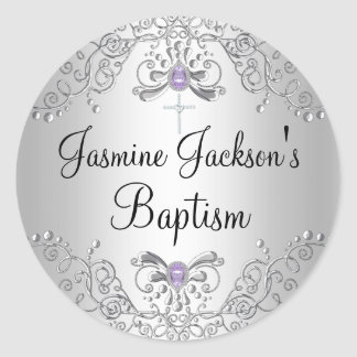 Purple & Silver Sparkle Jewel Baptism Sticker