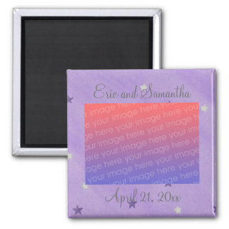 Purple Silver Stars Save the date photo magnets
