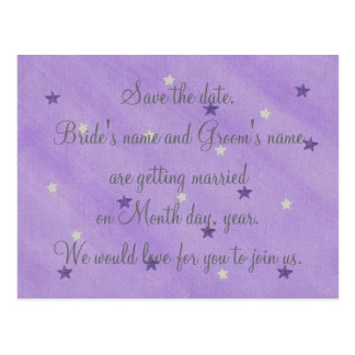 Purple & Silver Stars Save the date Postcards