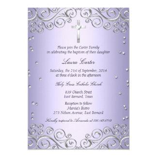 "Purple Silver Swirl & Cross Baptism/Christening 5"" X 7"" Invitation Card"