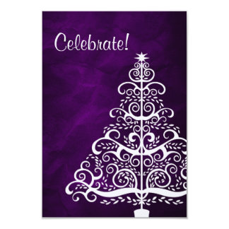 Purple Silver Tree Christmas Party 3.5x5 Paper Invitation Card