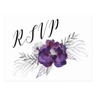 Purple Silver Watercolor Floral RSVP reply 3963 Postcard