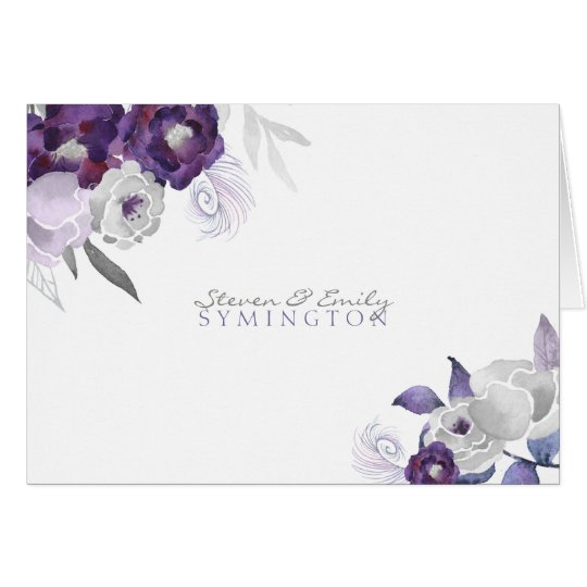 Purple Silver watercolor thank you notes  3963