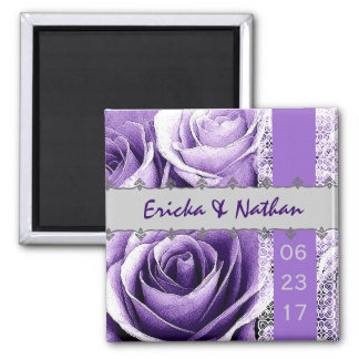 Purple & Silver Wedding Rose Bouquet with Lace Square Magnet
