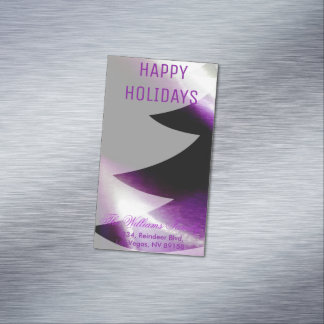 Purple Silver White Christmas Tree Business Cards Magnetic Business Cards