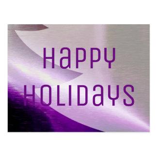 Purple Silver White Christmas Tree Elegant Stylish Postcard
