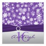 Purple Silver White Snowflake Birthday Invitation