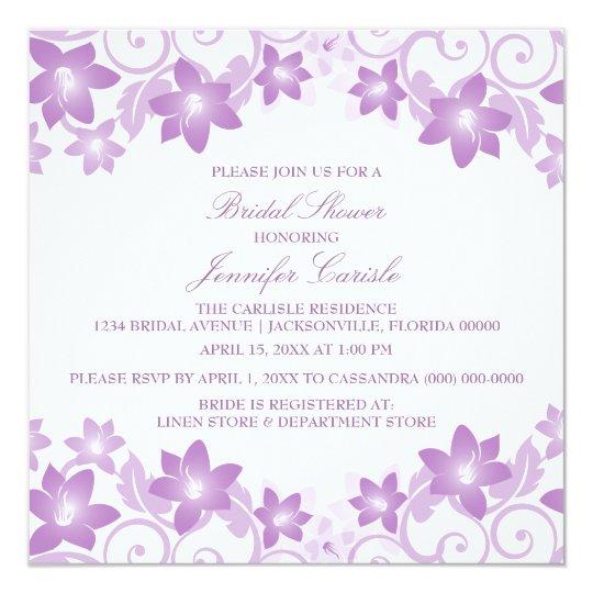 Purple Simple Floral Bridal Shower Invite