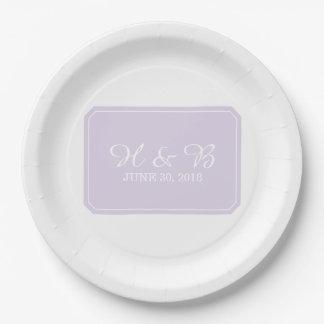 Purple Simply Elegant Wedding Paper Plate