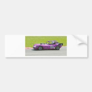 Purple single seater racing car bumper sticker