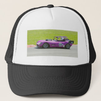 Purple single seater racing car trucker hat