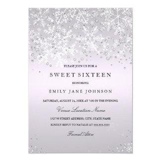 Purple Sixteen Winter Wonderland Snowflakes Card