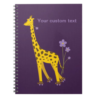 Purple Skating Funny Giraffe Personalized Spiral Notebook