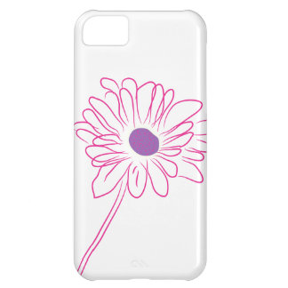 Purple Sketched Flower Case For iPhone 5C