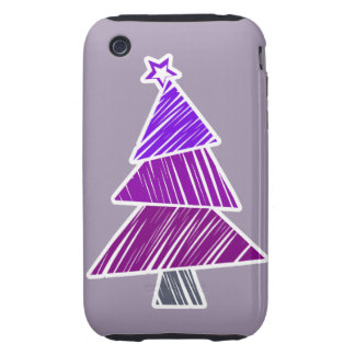 Purple Sketchy Christmas Tree 3G/3GS Case-Mate Tough iPhone 3 Covers