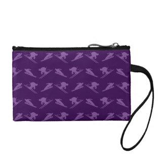 Purple ski pattern coin purse