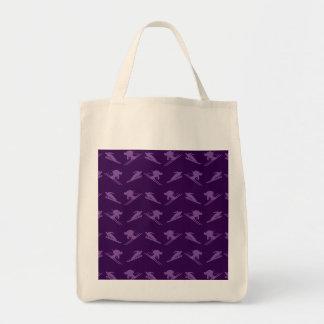 Purple ski pattern tote bag