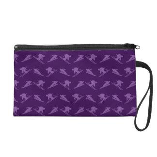 Purple ski pattern wristlet