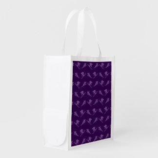 Purple ski pattern reusable grocery bag