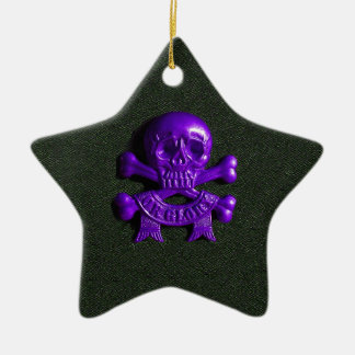 Purple Skull and Cross bones Christmas Ornament