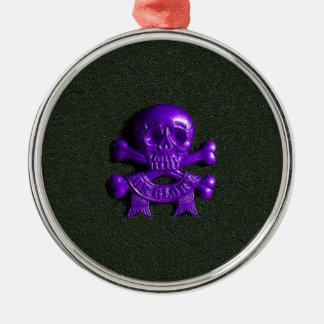Purple Skull and Cross bones Christmas Ornament