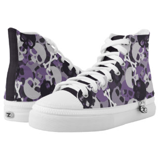 Purple Skull Pattern Printed Shoes