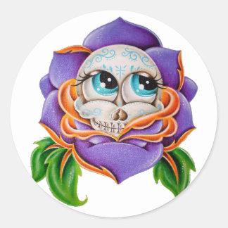 Purple skull round sticker