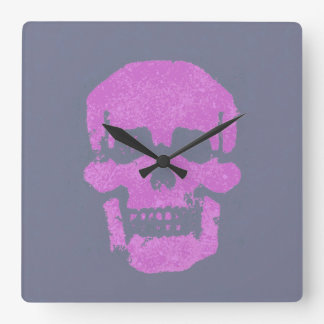 Purple skull square wall clock