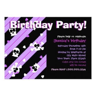 Purple Skulls and Hearts Birthday Party Invite