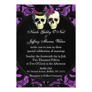 Purple Skulls Bride & Groom Wedding Invitation