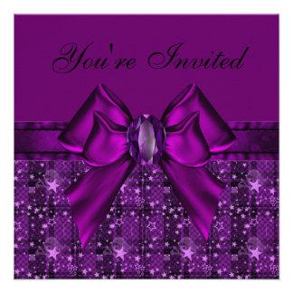 Purple Skulls Stars Bow Jewel Invites