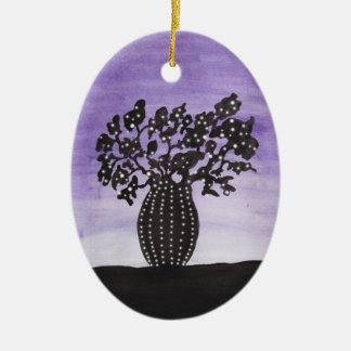 Purple Sky Baobab Tree Ceramic Oval Decoration