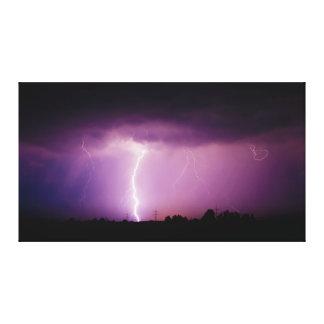 Purple Sky Lightning Storm Canvas Print